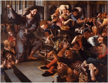 Christ driving the money changers from the temple by Jan Sanders van Hemessen
