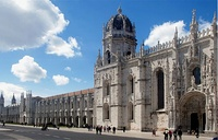 Jerónimos Monastery (top) and Belém Tower (bottom) are magna opera of the Manueline style and symbols of Portuguese nationhood.