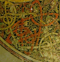 Intricate Celtic knotwork in the 1200-year-old Book of Kells
