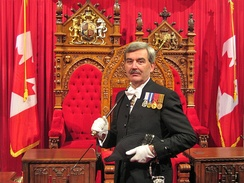 Kevin S. MacLeod as Canadian Usher of the Black Rod in 2009. Black Rod is a key element of the Royal Assent ceremony in Canada as in Britain.