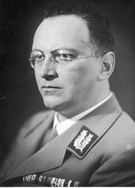 Konrad Henlein, leader of the Sudeten German Party (SdP), a branch of the Nazi Party of Germany in Czechoslovakia