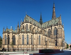 A close up of the neogothic new cathedral.
