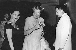 Roosevelt with President Ramon Magsaysay, the 7th President of the Philippines, and his wife at the Malacañan Palace in 1955
