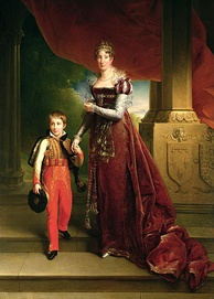 Ferdinand Philippe with his mother in 1819. His parents' coats of arms can be seen on the column. Painting by Louis Joseph Noyal