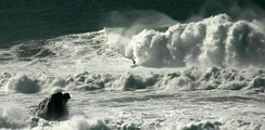 A surfer at Mavericks