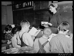 Mennonite teacher holding class in a one-room, eight-grade school house, Hinkletown, Pennsylvania, March 1942