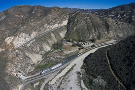 Aerial view of the Santa Clara River as it winds through Soledad Canyon just east of Santa Clarita