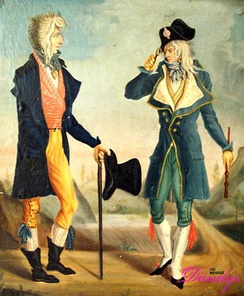 Les deux incroyables: Muscadins or Incroyables wore extravagant costumes in reaction against the recent Reign of Terror, by Carle Vernet, c. 1797