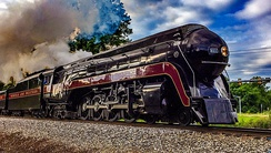 The recently restored Norfolk and Western No. 611 operating in Manassas, Virginia, on June 7, 2015.
