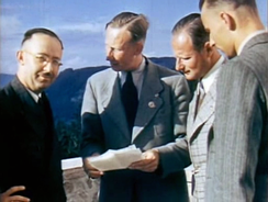 Holocaust perpetrators Heinrich Himmler, Reinhard Heydrich and Karl Wolff at the Berghof, from silent color film shot by Eva Braun, May 1939
