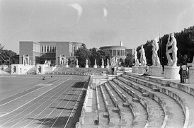 Stadio dei Marmi with Palace of the Italian Olympic Committee in the background, Rome.