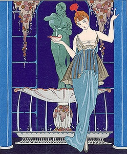 Illustration by Georges Barbier of a gown by Paquin (1914).  Stylized floral designs and bright colors were a feature of early Art Deco.