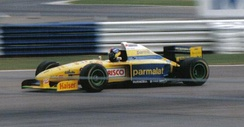 Pedro Diniz driving the FG01 at the 1995 British GP. He retired on lap 13 with a broken gearbox.