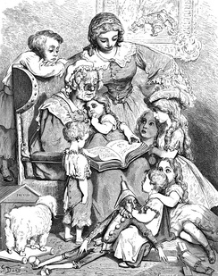 A picture by Gustave Doré showing Mother Goose, an old woman, reading written (literary) fairy tales to children