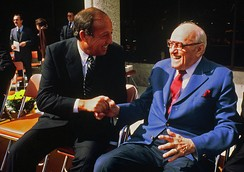 The team's founder George Halas (right) with NFL Commissioner Pete Rozelle