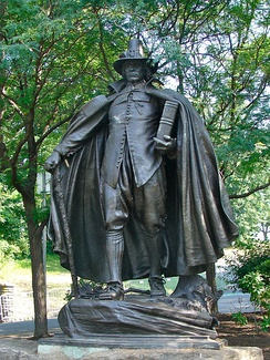 Second version of The Puritan, a late 19th-century sculpture by Augustus Saint-Gaudens