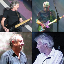 A colour collage of Waters (playing bass), Gilmour (playing guitar), Wright (playing a keyboard) and Mason, who is standing on a stage. Waters and Gilmour are wearing black T-shirts, Wright is wearing a white shirt and Mason a blue one. All four men are in their mid 60s.