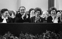 Brezhnev (seated second from left) attending celebrations for the holiday of International Women's Day, 1973