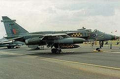 SEPECAT Jaguar GR.1A of No. 54 Squadron in 1990 wearing the unit's 'Rampant Lion' symbol on its below fuselage equipment
