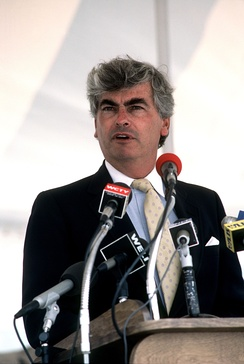 Dodd giving a speech at Naval Submarine Base New London, July 1985.