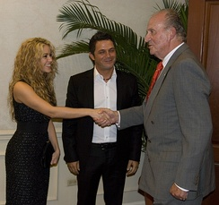Shakira, Alejandro Sanz and Juan Carlos I, The King of Spain during the Ibero-American Summit of El Salvador.