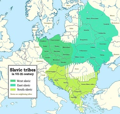 Spread of Slavic tribes from the 7th to 9th centuries AD in Europe