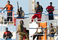 A collage of Somali pirates armed with AKM assault rifles, RPG-7 rocket-propelled grenade launchers and semi-automatic pistols in 2008.