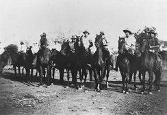 Riders gather for a dingo drive in Morven, Queensland, 1936