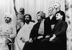 From left to right: Virchand Gandhi, Anagarika Dharmapala, Swami Vivekananda, (possibly) G. Bonet Maury. Parliament of World Religions, 1893