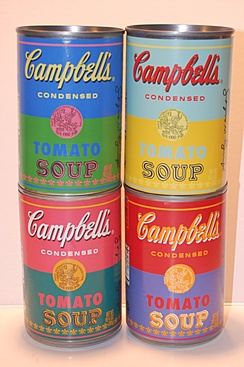 Special-edition steel soup cans commemorating Andy Warhol's paintings