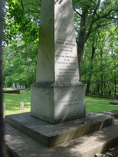 "Thomas Jefferson's tombstone. Written below the epitaph is ""Born April 2 1743 O.S. Died July 4 1826"""