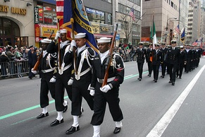 Members of Naval Reserve Center Bronx's color guard march up Fifth Avenue at the 244th Annual NYC St. Patrick's Day parade