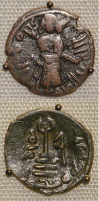 Two coins of the Umayyad Caliphate, based on Byzantine prototypes. Copper falus, Aleppo, Syria, circa 695