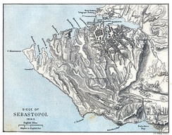 Historical map showing the territory between Balaclava and Sevastopol at the time of the Siege of Sevastopol
