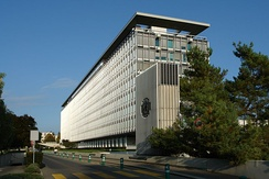 The headquarters of the World Health Organization in Geneva, Switzerland.