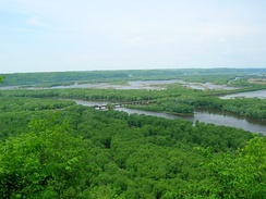 Confluence of the Wisconsin and Mississippi Rivers, viewed from Wyalusing State Park in Wisconsin