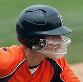 Zach Vincej with a clear facemask on his batting helmet, 2010