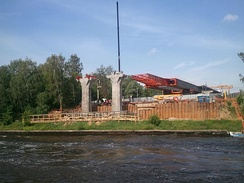 Construction of a bridge over the canal in Moscow on 15 July 2012.