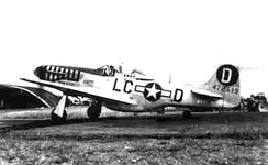 "North American P-51D-20-NA Mustang Serial 44-72519 (LC-D) ""Grumpy"" of the 77th Fighter Squadron, flown by Colonel Robert P. Montgomery, 20th FG Commander (18 December 1944 – 3 October 1945). Col. Montgomery was credited with 3½ air victories and three on the ground. He was awarded the Distinguished Flying Cross on 2 November 1944 for leading the group on an escort mission to Merseberg and deliberately selecting the more hazardous of two acceptable and honorable courses of action – namely leading the group into a gaggle of 250 Me-109s. A furious battle took place from 27,000 ft. to ground level."