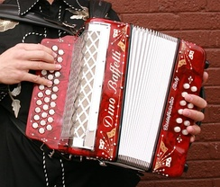 Three-row button accordion with 12 bass buttons