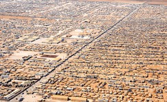 An aerial view of a portion of the Zaatari refugee camp which contains a population of 80,000 Syrian refugees.