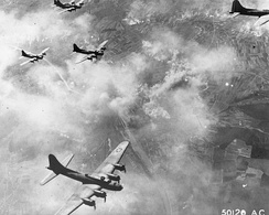 B-17F formation over Schweinfurt, Germany, 17 August 1943