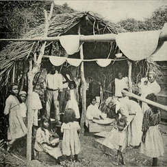 Residents of Saint Vincent making casabe (casava bread) in the 1910s