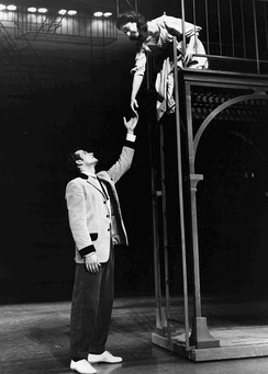 Larry Kert and Carol Lawrence in the balcony scene of West Side Story, original Broadway cast (1957)