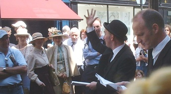 Bloomsday performers outside Davy Byrne's pub, 1999