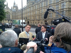 A BNP press conference in 2009, featuring Richard Barnbrook and Nick Griffin
