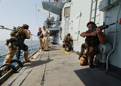 Boarding procedures demonstrated by Royal Marines on the frigate HMS Somerset in the Persian Gulf, in 2004