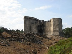 Mock castle at the Bourne Wood at the end of filming, showing the burnt-out castle gate