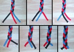 The standard braid is Brunnian: if one removes the black strand, the blue strand is always on top of the red strand, and they are thus not braided around each other; likewise for removing other strands.