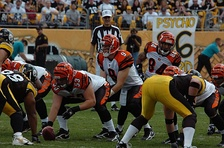 Quarterback Carson Palmer, wide receiver #84 T. J. Houshmandzadeh, and the rest of the Bengals line up to play the Pittsburgh Steelers in 2006.